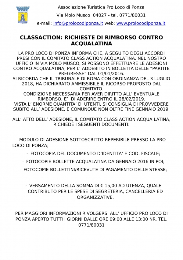 CLASSACTION ACQUALATINA